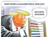 كاريكاتير يسخر من ترامب لرغبته إضافة سؤال حول الجنسية فى إحصاء السكان 2020