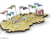 كاريكاتير الصحف الإماراتية يسخر من انتشار القواعد الأمريكية على أراضى قطر