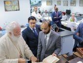 صور..البابا ثؤدوروس الثانى يزور مكتبة الإسكندرية ويتفقد معمل ترميم المخطوطات