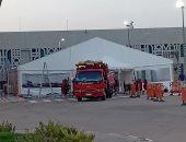 """صور.. شاهد تجهيز """"خيمة الحجاج"""" بمطار الأقصر الدولي لخدمة زوار الأراضي المقدسة"""