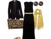 للمحجبات في المناسبات...الفستان الطويل يمكن ارتدائه بأشكال متنوعة