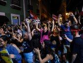 احتفالات المتظاهرين بعد استقالة حاكم بورتوريكو روسيلو فى سان خوان
