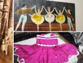 """صور.. رحلة كفاح """"سوسن نجا"""" فى فن الكروشيه والرسم والمشغولات منذ 45 عامًا"""