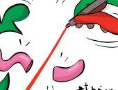 """كاريكاتير الصحف الكويتية .. يد الكويت تقطع الالسنة المغرضة وتعلن """"الكويت خط احمر"""""""