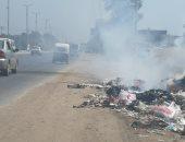 اضبط مخالفة.. الدخان يحاصر السيارات على الطريق السريع بطنطا بسبب حرق القمامة