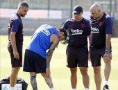إصابة ميسي فى ظهوره الأول بتدريبات برشلونة