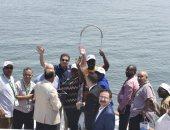 """صور.. وفد """"البرلمان الأفريقى"""" فى جولة بحرية بقناة السويس الجديدة"""