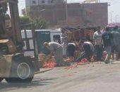 """انقلاب سيارة نصف نقل محملة بالطماطم بطريق """"السنطة - طنطا """""""