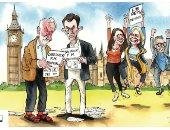 """بسبب """"بريكست بدون صفقة"""" .. انقسام الأحزاب البريطانية فى كاريكاتير تليجراف"""
