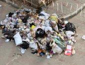 من أسبوع.. تراكم القمامة بشارع عبد الله الشرقاوى بمنيل الروضة