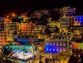 صور.. قرية سعودية تتحول للوحة فنية كبيرة بإستخدام الألوان