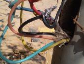 قارئ يشكو خروج أسلاك كهرباء من أحد الأعمدة بالحى السادس عشر بالشيخ زايد