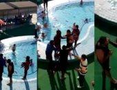سوبر كورة.. شاهد مشاجرة بين منقذى السباحة وعضو داخل نادى 6 أكتوبر