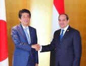 """الرئيس السيسى ورئيس وزراء اليابان يتفقدان الجناح المصرى بمعرض """"جيترو"""" بيوكوهاما"""