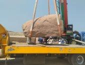شاهد.. نقل أجزاء من مسلة رمسيس الثانى تمهيدًا لوضعها بميدان التحرير