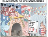 الانتخابات الرئاسية 2020 بيت الرعب للأمريكيين.. كاريكاتير Usa Today