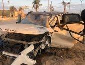 عمرو زكى يتعرض لحادث مروع على طريق الساحل الشمالى.. صور