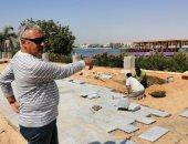 """صور.. مدينة الأقصر تعلن البدء بأعمال تركيب """"البلاط"""" ضمن تجديد كورنيش النيل"""