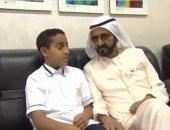 محمد بن راشد يزور الطفل البطل خليفة الكعبى بعد إنقاذ زملائه من حريق حافلتهم