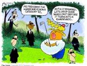 """""""ذا ويك"""" تنتقد ترامب فى كاريكاتير بسبب تجاهل إعصار دوريان ولعب """"الجولف"""""""