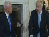 رئيس الحكومة البريطانية بوريس جونسون يلتقى مايك بنس نائب الرئيس الأمريكى