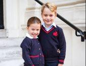 شاهد.. الأمير جورج والأميرة شارلوت قبل الذهاب للمدرسة بأول أيام الدراسة