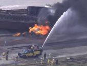 شاهد.. لحظة اشتعال النيران بقطار شحن فى ولاية إلينوى الأمريكية