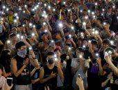 المتظاهرون يحتشدون خلال انطلاق مهرجان منتصف الخريف فى هونج كونج