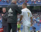 هازارد يظهر لأول مرة بقميص ريال مدريد ويهدد المرمى من أول لمسة.. فيديو