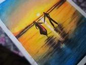 محمد يشارك بموهبته فى الرسم ويحلم بمعرض خاص