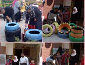 صور.. الطلاب والمعلمون إيد واحدة فى تزيين المدارس بكفر الشيخ
