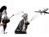 """كاريكاتير صحيفة """"الشرق الأوسط"""".. ريموت الطائرات المسيرة فى أيادى الحوثيين"""