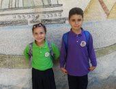 أول يوم مدرسة .. قارئ يشارك بصور أطفاله كريم وندى بالزى المدرسى