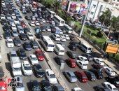 كثافات مرورية بشارع البطل وكوبرى أكتوبر
