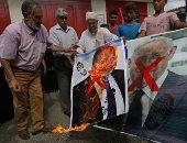 مظاهرات فى غزة بالتزامن مع لقاء الرئيس الإسرائيلى مع جانتس ونتنياهو