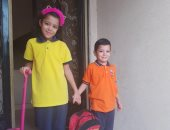 """فى أول يوم مدرسة.. قارئ يشارك بصورة أطفاله """"يوسف وريماس"""""""