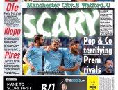 الصحافة الإنجليزية تبرز تفوق مانشستر سيتي التاريخي ضد واتفورد.. صور