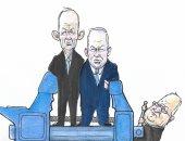 كاريكاتير إسرائيلى : نتنياهو وجانتس فى انتظار مقصلة تشكيل الحكومة
