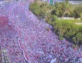 """إكستر نيوز تنشر فيديو لجموع المصريين بالمنصة فى لقطات عبر طائرة """"درون"""""""