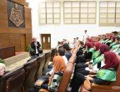 صور.. طلاب جامعة القاهرة فى زيارة للكلية البحرية