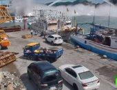 شاهد.. اللقطات الأولى لانهيار جسر شاهق فوق خليج شرق تايوان