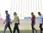 جهاد جريشة يتفقد ملعب برج العرب قبل مواجهة الإسماعيلى والمصرى
