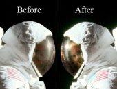 ظهور وجه رائد أبولو يبتسم داخل خوذة الفضاء على سطح القمر