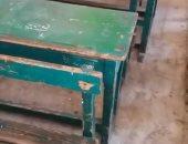 صور.. أولياء أمور مدرسة جمال عبد الناصر بالدقى يطالبون بتغيير المقاعد
