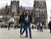 نور الشربينى تلتقط صورا تذكارية على هامش الزيارة الطبية لألمانيا