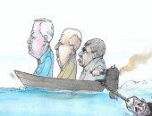 """كاريكاتير إسرائيلى ساخر: """"لابيد تابع لحزب الجنرالات يوجهونه أينما رغبوا"""""""