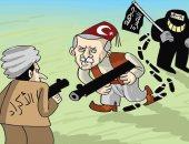 كاريكاتير الصحف الإماراتية.. أردوغان يحارب أكراد سوريا لحماية إرهابيين جبهة النصرة