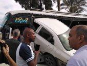 """إصابة شخص في تصادم سيارة وأتوبيس بطريق """"مصر – الإسماعيلية"""" الصحراوي بالشرقية"""