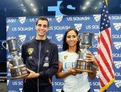 على فرج ونوران جوهر يحتفظان لمصر بلقب بطولة أمريكا المفتوحة للاسكواش.. صور