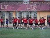 صور.. تدريبات بدنية للاعبى الأهلى بمشاركة السولية وتأهيل مروان ونيدفيد